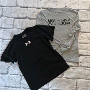 Bundle of 2 Youth Under Armour shirts sz YSM